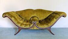 Mid Century Victorian Style Mahogany Tufted Sculptural Loveseat Phyfe Style