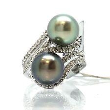 18K White Gold 2 Pieces Black South Sea Pearl  Diamond Ring June Birthstone