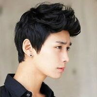 Vogue Men Wigs Handsome Sexy Korean Boys Short Black Hair Cosplay Party Wigs