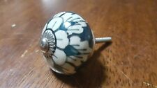 Hand-made Hand-painted Ceramic Drawer Knob - White and blue flower - S36