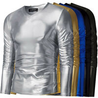 Men's Wet Look Sequin Shirt Fancy Stag Costume Party Clubwear T Shirt Shirts Tee