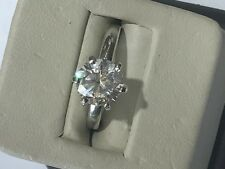 Beautiful Sterling Silver 925 Round Solitaire Nice Cubic Zirconia Prong Set Ring