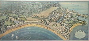 1927 WESTCHESTER COUNTY NEW YORK BIRD'S EYE VIEW OF RYE PLAYLAND COPY POSTER MAP
