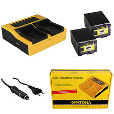 2x Batterie Patona + Chargeur de Rapide Dual LCD Pour Canon Legria HF M30