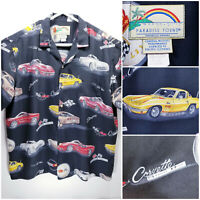 Paradise Found Mens XL Shirt Short Sleeve Button Up Corvettes Stingray 396 427