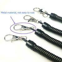 Metal Spiral Key Chain Retractable Clip Ring Stretchy Spring Keyring Coil E8V9