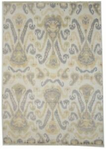 Distressed Contemporary 6X9 Viscose Silk Modern Hand-Knotted Oriental Rug Carpet
