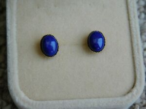 LAPIS LAZULI  8mm X 6mm CABOCHON EAR RINGS SET IN 9CT GOLD STUDS