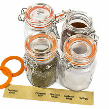 Juego de 12 tarros de especias superior Clip De Vidrio Vacíos almacenamiento ollas Contenedores Con Etiquetas