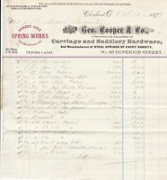 U.S. Cleveland 1878 Geo. Cooper & Co. Carriage+Saddlery H/Ware Receipt Ref 37823