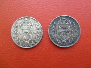 2 x 1918 silver threepence - George V - 0.925 sterling silver (ref 500)
