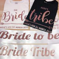 ROSE GOLD Bride Tribe Hen Party T Shirts Sash Bachelorette Wedding Bridesmaid