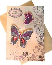 608 Single Birthday Card - Happy Birthday - Purple Butterflies  (Size M)