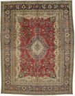 Muted Distressed Classic Floral 8'8X11'4 Antique Oriental Rug Home Decor Carpet
