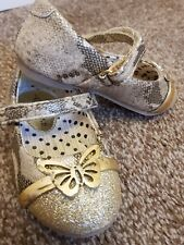 GEORGE GIRLS PARTY SHOES SIZE 5 BUTTERFLY AND GOLD SPARKLE
