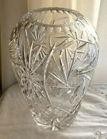 """Starburst Pinwheel Pattern Hand Cut Crystal Vase 10"""""""
