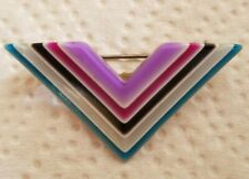 Layered Colors Geometric Brooch -1970s Signed Vintage Paris Lea Stein