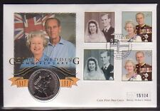 The Golden Wedding Anniversary of The Queen set 4 stamps & £5 coin(2017/06/06#02