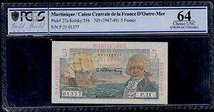 MARTINIQUE  5  FRANC  ( 1947-49 )  PICK # 27a PCGS 64 CHOICE UNC.