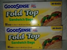 2 GOOD SENSE FOLD TOP 80 SANDWICH BAGS TOTAL 160 BAGS 6.5 IN  X 5.5 IN  USA