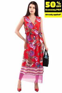 GIORGIA & JOHNS Satin Midi Sheath Dress S Floral Pattern Mesh Trim Made in Italy