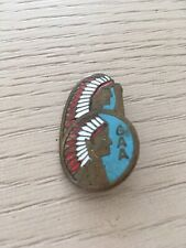 Antique Native American Coin Metal Indian Chief Brooch Pin Double Head Turquoise