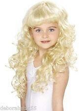 Girls Princess Wig Long Blonde Curly Fairy Tale Fancy Dress Costume Wig Smiffys