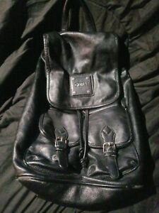 G  BY Guess Backpack Purse Drawstring & Magnetic Closure Black Silver Plaque