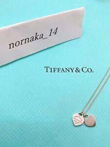 Near MINT TIFFANY & Co Return to Mini Double Heart Necklace Silver No Box