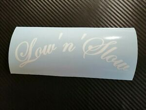 WHITE Low'n'Slow Car Sticker Decal JDM VDUB Stance Lowered Bag Air Static