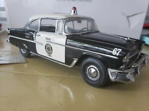 Franklin Mint Chevrolet 1955 Bel Air Police Chief Car 1:24 Scale Die Cast