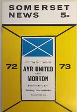 Ayr United v Morton Programme Scottish First Division 16.09.1972 Somerset Park