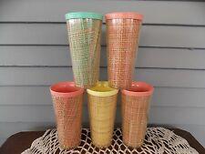 Set of 5 Vintage Raffiaware Burlap Weave Melmac Plastic Cups Drinking Tumblers