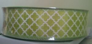 1 1/2 inch Green wired ribbon with White design Weddings, Spring, Easter, Wreath