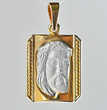 14K GOLD JESUS PENDANT YELLOW AND WHITE 14K 585 GOLD GIFT BOXED NEW