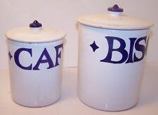 Starbucks Sberna Deruta Cafe/Biscotti Set 2 Canisters Jars 1999 White Blue Italy