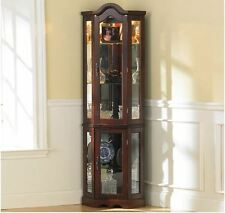 Curio Cabinet Lighted China Corner Display Glass Shelves Doors Mirrored Case