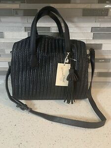 New With Tags Universal Thread Goods Company Black Weaved with Tassel Hand Bag