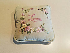"""Vintage Green 6 1/2"""" Long Stitched Love Floral Pillow"""