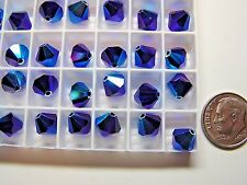 288 PC SWAROVSKI CRYSTAL BEADS #5301 8MM COBALT AB 2X - FACTORY PACKAGE - BICONE