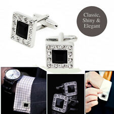 Stainless Steel Black Square Timeless Crystal Rhinestone Sparkling CZ Cufflinks