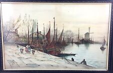 ANTIQUE EDWARDIAN PERIOD WATERCOLOUR OF DUTCH CANAL SCENE  *** D.SENIOR 1910 ***