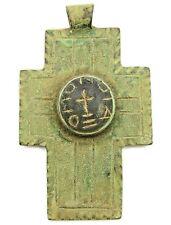 Ancient Rare Viking Byzantian Kievan Rus Large Bronze Cross Amulet 7-9th AD