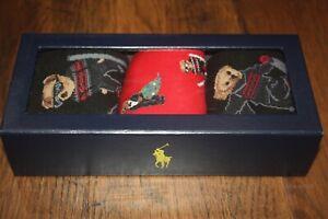 Brand New In Box Polo Ralph Lauren Men Bear Socks Gift set - 3 pairs Size 10-13