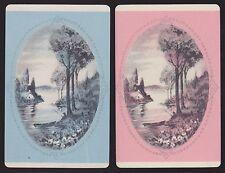 2 Single VINTAGE Swap/Playing Cards COTTAGE RIVER MAN FISHING