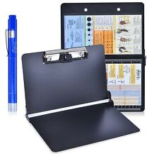 Black Foldable Nursing Clipboard w/Pen Holder, Medical Penlight, and Ref Guides