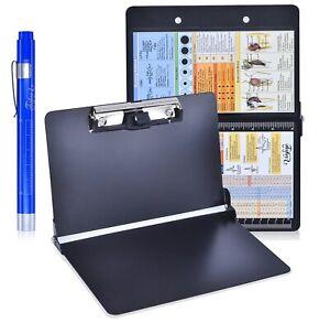 Black Foldable Nursing Clipboard w/Pen Holder, Medical Penlight, and Ref Guides