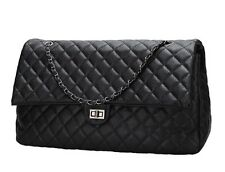 Women Black Quilted Shopper Chain Faux Leather Extra Large Handbag