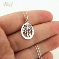 Sterling Silver 925 oval Tree of life and heart necklace with chain pendant N111