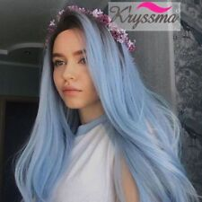 """24"""" Ombre Blue Synthetic Wigs with Dark Roots Straight Glueless Lace Front Wigs"""